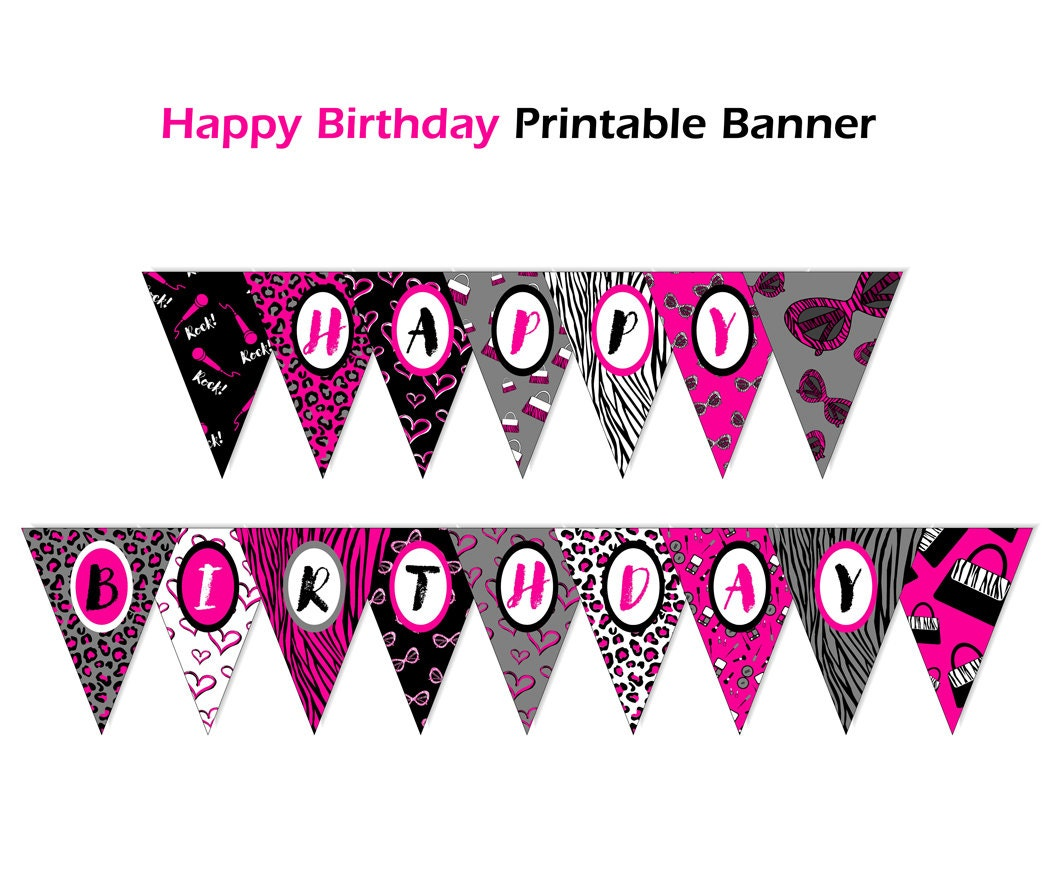 Editable Banner Diva Birthday Banner Printable Personalized