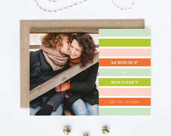 Photo Holiday Card - Newlywed, Family, Children, Baby - Merry + Bright
