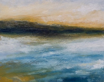 Original oil painting , abstract seascape beach, SWIFTLY GO , atmospheric, modern art, 6x6 inches