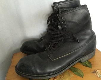 size 14 Boots Black Leather Combat Army Vintage Wolverine Men's US 14