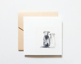 Valentines Day Card - Watercolour Dogs: Blank Greeting Card