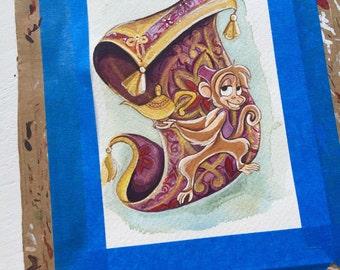 """Original Abu 3.5x5"""" Watercolor Painting."""