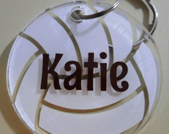 Personalized Volleyball Keychain bag tag with name - Your choice of color for name