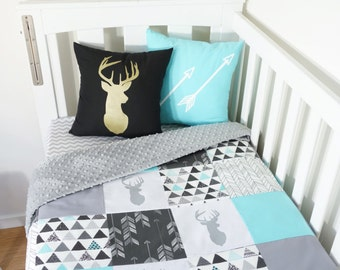 Patchwork quilt nursery set - Aqua, grey and black woodland, geometric deer
