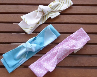 Top Knot Headbands: Pink spots, blue stripes and blush/gold - Set of 3