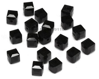 100pcs Black Color 6mm Square Cube Crystal Beads,Loose Jewelry Spacer Faceted Beads 19 Color U Pick