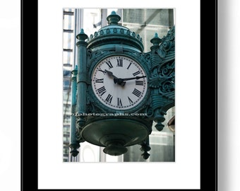 MARSHALL FIELD'S CLOCK, Architecture Photography, Chicago Downtown, Fine Art Print, Office Wall Decor, Home Decor.