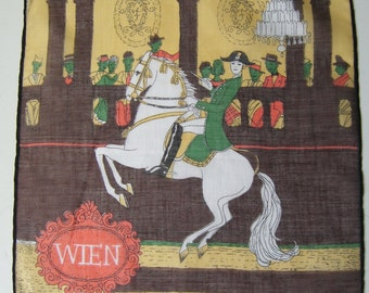Vintage Women's Hankie with Lady on Horse