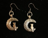 Cat on a Crescent Moon, Tibetan Silver Cat and Moon Earrings, Ready to Ship, Cat Earrings, Girl's Earrings