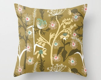 """Meadow Flowers- illustrated Cushion Cover / Throw Pillow (16"""" x 16"""")"""