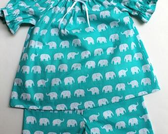 Elephant Pajama Set, Summer Pajamas, Handmade Sleepwear, Size 6.
