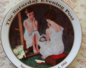 """Mini Collector's plate Norman Rockwell  """"Girl At The Mirror"""" 1954 Painting Print"""