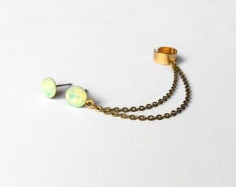Crystal Ear Cuff Earrings, Ear Cuff Earrings with Swarovski crystals, Stud earrings, Studs with chain and cuff