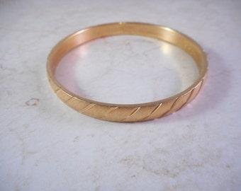 Vintage Monet Bangle Bracelet Gold Tone Etched Design
