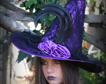 Black,Purple or Red   Witches Costume Hat ~Gothic Witch Hat ~ Medieval ~ Steampunk Evil Costume