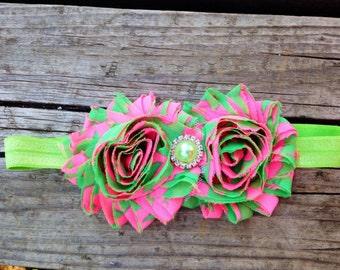 Easter headband, Pink and green headband, headband,  chic headband, frayed flower headband, photo prop headband, pink headband, t