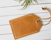 Brown Leather Personalized Luggage Tag