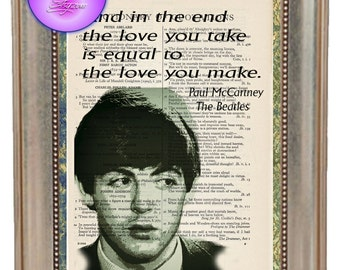 Paul McCartney Green Poster Art with Love Quote - Beautifully Upcycled Vintage Dictionary Page Book Art Print