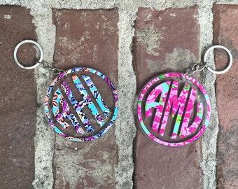 Monogram Keychain-Lilly Pulitzer Monogram Keychain-Monogram Keychain with Tassel