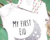 My first Eid onesie, Bodysuit for children, Eid Mubarak gift, white long sleeves