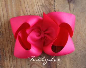Hot Pink Jumbo Basic Boutique Hair Bow 6 inches across Choose your clip, I love big Bows and I cannot lie, hair accessory girls hair clip