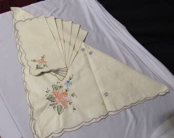 "Vtg Embroidery Cutwork Square Tablecloth 6 Napkins Fretwork Ivory Floral 42"" Shabby Cottage"
