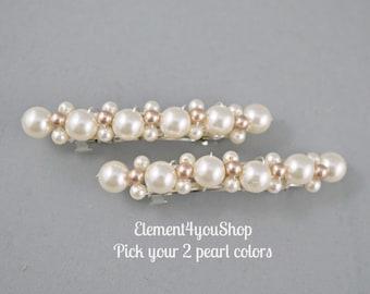 Set of 2 small barrettes Flower girl hair Wedding Pearl Pink Fall wedding Pearl Hair Accessories, Wedding Hair Clip, French Barrette