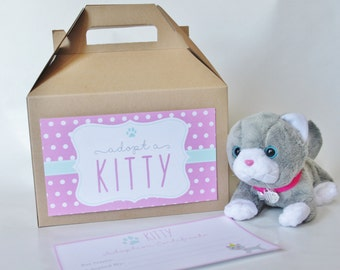 Set 15 kraft gable boxes with Kitty adoption labels and certificate- KITTEN CAT