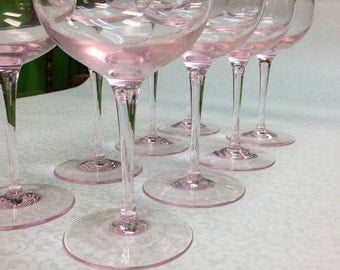 Set of 8 Pink Crystal Stemmed Glasses c.1960's