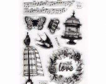 Victorian Couture Love Set of 10 Clear Cling Stamps