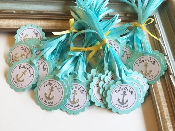Nautical Wedding Gift Tags : Nautical Anchor Gift Tag Baby Shower Favor Tags Beach Wedding Ribbon ...