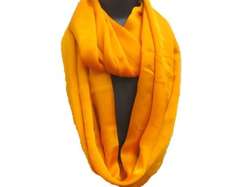 Infinity scarf/ loop scarf/ circle scarf/ tube scarf / yellow scarf / satin  georgette scarf/   gift ideas.