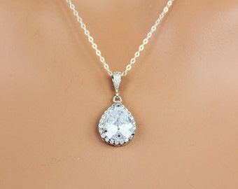 Crystal Teardrop Wedding Necklace, Rhinestone Bridal Necklace, Bridesmaids Pendant, Cubic Zirconia Wedding Pendant