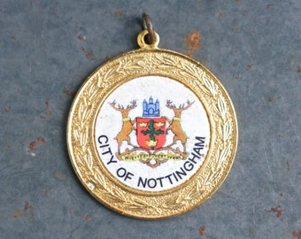 city of Nottingham Medallion - Coat of Arms Medal - Altered Arts Assemblage