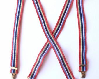 80's Vintage Primary Color Accordion Suspenders