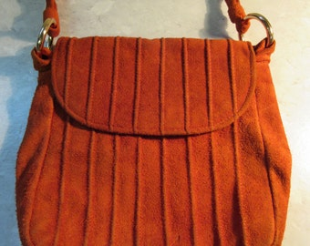 GREAT 1960's Orange Suede Handbag By 'Jane Shilton' - VERY Retro Indeed!!