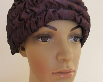 Vintage 1950's Chocolate Brown Ruffled Hat - Lovely!!