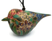 Vintage Hand Painted Bird Ornament Made in India - Floral Colorful Green Pink Blue Purple Flower Design - Lacquered Paper Mache - Christmas