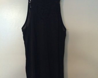 Black Tank With Floral Lace Design