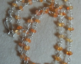 Sterling Carnelian Chain, 18 inches, Wire Wrapped