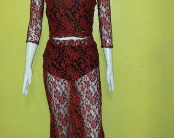 Red lace skirt set