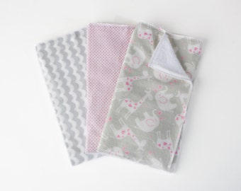 SALE Baby Girl Burp Cloth Set-Zoo Animal Burp Cloth Set-Elephant & Giraffe Burp Cloth Sets -Cotton Terry Cloth Burp Cloths -Grey Pink White