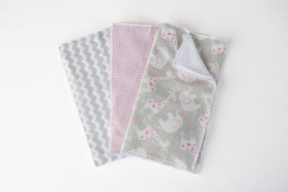 SALE Baby Girl Burp Cloth Set-Zoo Animal Burp Cloth Set-Elephant & Giraffe Burp Cloth Sets -Cotton Terry Cloth Burp Cloths -Grey Pink White