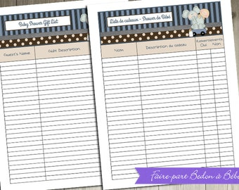Digital printable -  Baby Shower Gift List