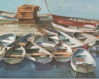 Blank Birthday Card, rowboats tied up, Lazy Afternoon, by Elizabeth Boynton, 1995, good shape