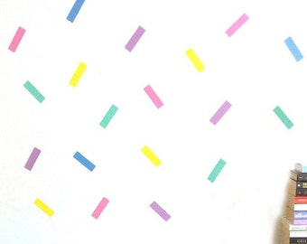 Rainbow Confetti Wall Decal Decoration, Peel And Stick Bachelorette Wall Decoration, Playroom Wall Decal, Peel And Stick Rectangle Backdrop