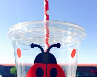 12 oz disposable lady bug party cups