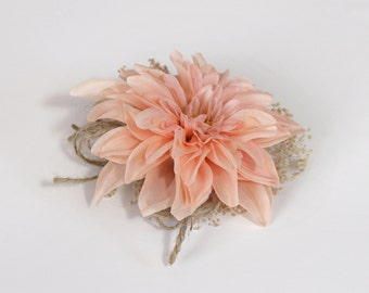 Coral Peach Corsage, Rustic Twine Bow, Silk Dahlia, Baby's Breath, Rustic Country Style, Pin On or Wrist Corsage, Wedding, Prom, Mom Corsage