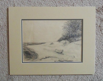 Vintage Pencil Drawing Cabin Cottage on Beach with Row Boat c. 1945 Signed