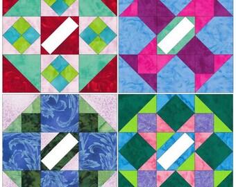 Album Blocks 15 Inch Block Set of 4 Paper Piece Template Quilting Block Patterns Set 1 PDF